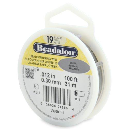 Beadalon 19-Strand Bead Stringing Wire, 0.012-Inch, Bright, 100-Feet - Beadalon 19 Strand Beading Wire