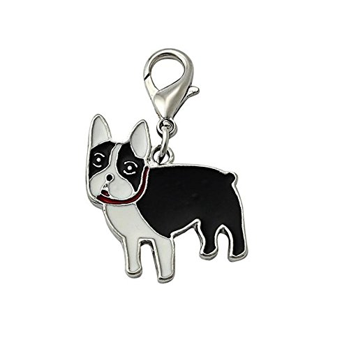 Stock Show 25mm Pet Dogs Collar Charms Necklace Pendant Novelty ID Tag Puppy Dog Pattern Keychain Disc Disk Pet Identification Tags, Bulldog (Bulldog Disc Charm)