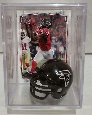 Juilo Jones Atlanta Falcons Mini Helmet Card Display Collectible Case WR Auto Shadowbox ()