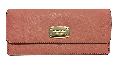 Michael Kors Jet Set Travel Flat Saffiano Leather Wallet (Antique Rose) by Michael Kors