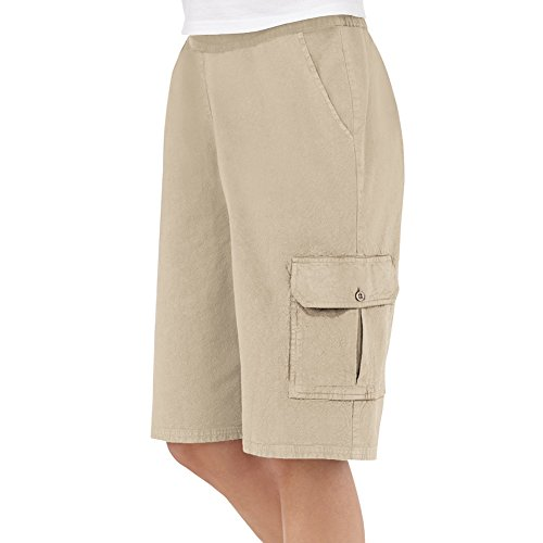 Women's Elastic Waist Cargo Pocket Short, Khaki, Plus-Size, Machine Washable