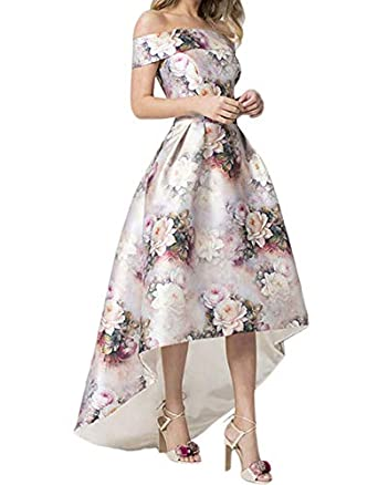 Womens Floral Print Off The Shoulder Prom Dresses Floral Satin High Low Evening Formal Gowns (