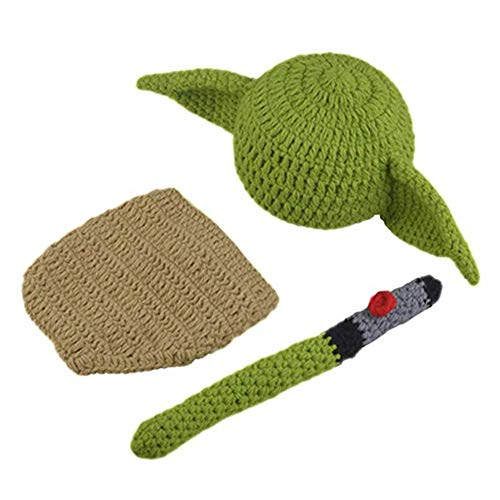 Newborn Infant Baby Photography Prop Crochet Knit Yoda Hat Diaper Costume Set -