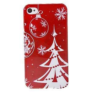 ZXM-Árbol de Navidad de la serie de Navidad y patrón del copo de nieve del estuche rígido para el iPhone 4/4S