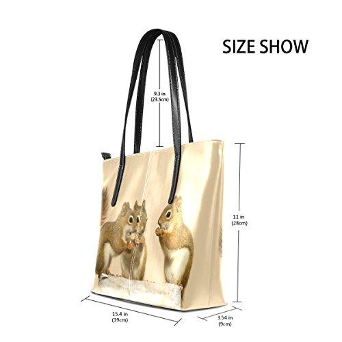 On Totes Purses Seeds PU Shoulder Bags Birch Handle Top Leather Sunflowers TIZORAX Sharing Squirrels Log Women's Baby Fashion Handbag nHqxUTXwA