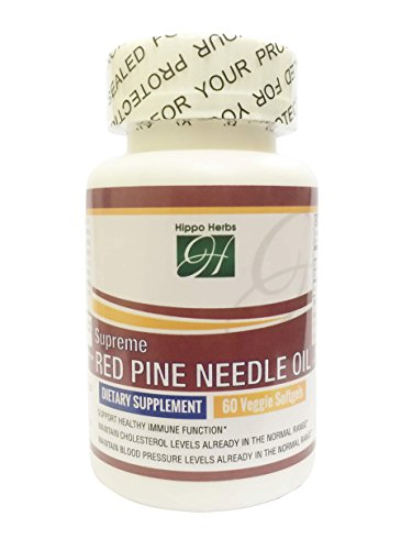 [Special Offer] Hippo Herbs Supreme Red Pine Needle Oil 490mg Supplement - FROMOTES HEART HEALTH and CHOLESTEROL SUPPORT - PROMOTES HEALTH BLOOD PRESSURE and CARDIOVASCULAR HEALTH (60 Veggie Softgels)