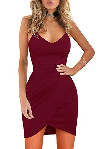 Zamtapary Las Mujeres Verano Espaguetis Correa De Sundress Bodycon Mini Vestido De Abrigo De Discoteca Rojo