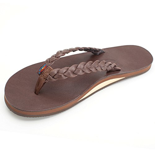 Rainbow Sandals Women's Single Layer Premier Leather w/Double Braided Strap, Mocha, Ladies Large / 7.5-8.5 B(M) US
