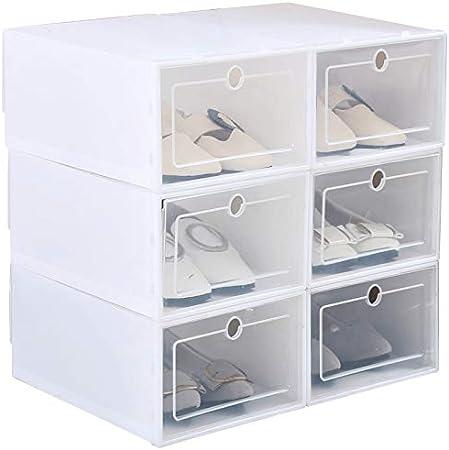 XIAMUSUMMER - Juego de 6 cajas apilables para zapatos de hombre, transparente, para salón, exterior, 33 x 24 x 13 cm, tamaño grande, Large: Amazon.es: Hogar