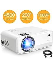 """Projecteur APEMAN 4500 Lumens, Full HD 1080P Supporté Mini Portable Vidéoprojecteur, Deux Haut-Parleurs Multimédia Rétroprojecteur, 200"""" LED Cinéma Maison Compatible avec HDMI/VGA/AV/TF/USB/Xbox/PS4"""