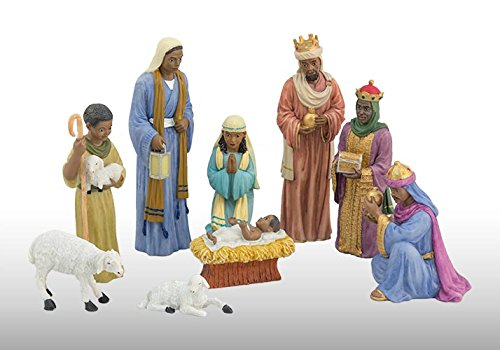 9 Piece Nativity Set: African American