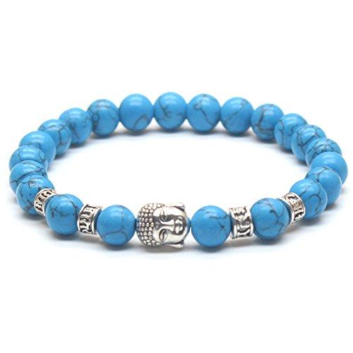Weelovee Mens Women CHAKRA Buddha Stretch Bracelet Real Nature Blue Turquoise Bead Stones Semi-Precious (Silver Buddha) -