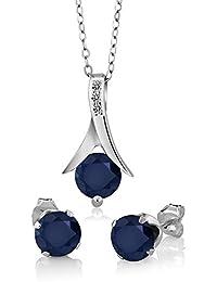 925 Sterling Silver Blue Sapphire & White Diamond Pendant...