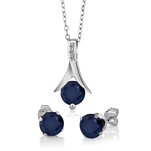 (Gem Stone King 925 Sterling Silver Blue Sapphire & White Diamond Pendant Earrings Set, 3.05 Ct Round with 18 Inch Silver Chain)