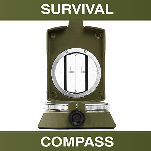 Swiss Safe Multifunction Military Survival Compass (Army Green) - Premium Navigational Compass for Camping, Hiking, Outdoors & Emergency Survival Situations