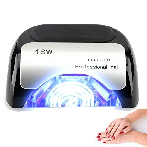 Ccfl Led - 48W Nail Dryer-Lumcrissy Professional Automatic Sensor Quikly Dry Diamond Shaped CCFL & LED UV Nail Lamp (UV & LED 2 in 1 Nail Gel Lamp), Curing Nail Dryer for LED UV Gel Nail Polish nail tools (Black)
