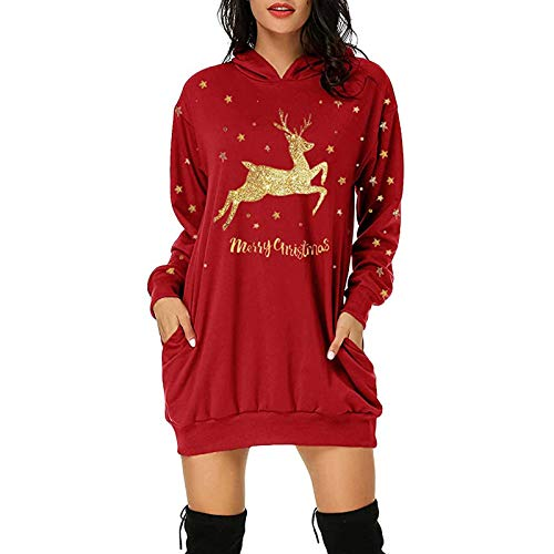 Hoodies for Women UK Casual Sweatshirt Long Sleeve Pullover Sale 2020 New Reindeer Elk Christmas Letters Funny and…