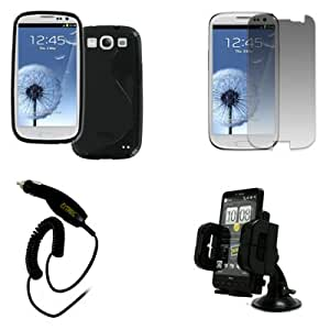 """EMPIRE Samsung Galaxy S III / S3 Poly Skin Case Cover (Black """"S"""" Shape) + Car Dashboard Mount + Screen Protector + Car Charger [EMPIRE Packaging]"""