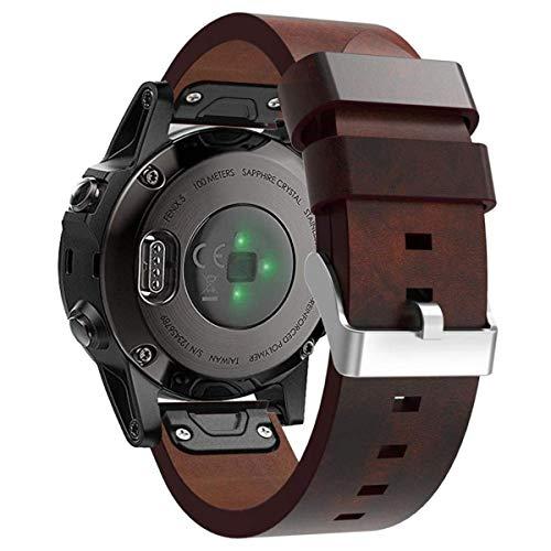 Compatible Garmin Fenix 5/ Fenix 5 Plus Watch Band Women Men, 22mm Quick Release Easy Fit Stylish Replacement Leather Bands Straps Wristbands Bracelet for Garmin Fenix5 /Fenix 5 Plus/Forerunner 935