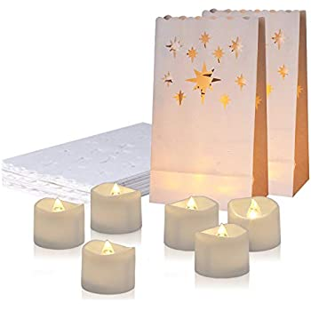 Amazon.com: AceList - Juego de 30 bolsas luminosas con velas ...