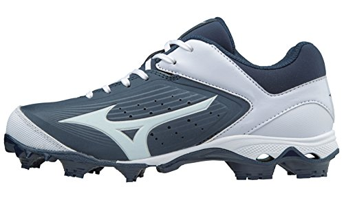 Mizuno (MIZD9) Women's 9-Spike Advanced Finch Elite 3 Fastpitch Cleat Softball-Shoes, Navy/White, 6.5 B US