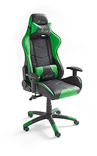 MC Racing 8 Gaming Stuhl, Sportsitz Optik, Chefsessel mit Armlehnen, Büro-/Schreibtischstuhl, inklusiv Kissen, Bezug Kunstleder/ PVC, circa 69 x 125-135 x 58 cm, schwarz / grün, 62498SU3
