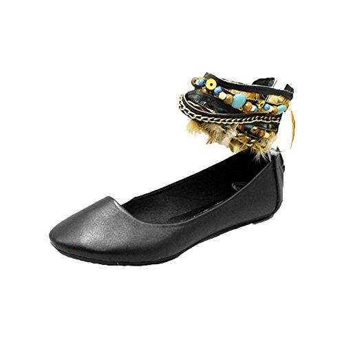 Negro zapatos planos / bombas con múltiples correas en el tobillo Negro