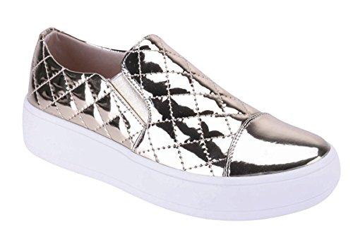 Cambridge Select Dames Gesloten Ronde Neus Teen Gewatteerde Stretch Instappers Flatform Fashion Sneaker Goud