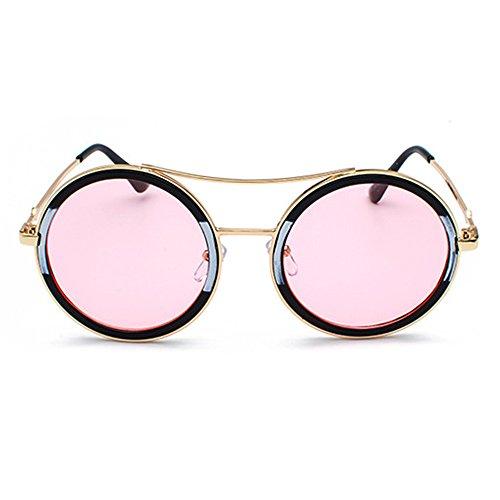 gran negras Gafas marco sol Gafas de para la de con de Eyewear mujeres D azules damas de estuche Diseñador lentes redondas moda de para grande Rosado Elegante marca las tamaño wgIqUg5v