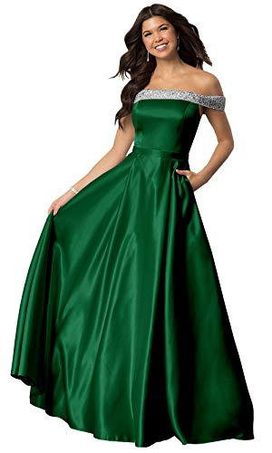 ns Beaded Strapless Evening Dress Long Off The Shoulder Party Gown Emerald Green,12 ()