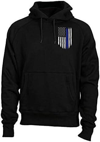 Thin Blue Line USA Flag Police Men's Hoodie Sweatshirt