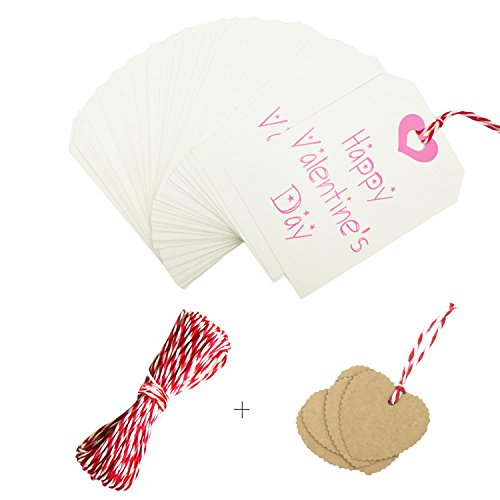40 Pieces Valentine's day Gift Tags, Valentine Paper, Craft Tags, Valentine Crafts add 10 Pcs Kraft Paper Labels, Gift Tags with 33 Feet String for Valentines Decoration