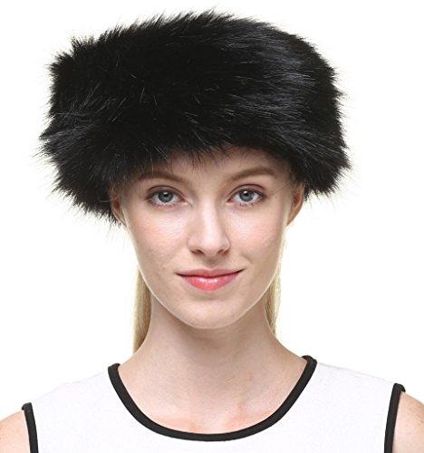 Vogueearth Women's Winter Earwarmer Earmuff Ski Hat Headband Faux-Fox Fur Black