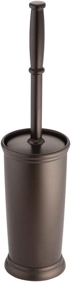 Stylish Round Toilet Brush and Holder Light Orange Essential Bathroom Brush for Toilet Bowls mDesign Toilet Brush Set