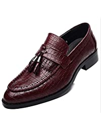 Business Casual Crocodile Pattern Tassel Leather Shoes Wild Point Hair Style Teacher Tide Wedding Shoes Loafer Shoes Comfortable