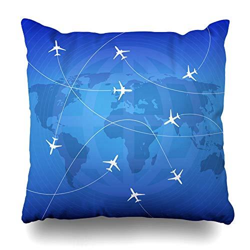 Sky Path - Pandarllin Throw Pillow Cover Flight Blue Travel Airplanes Stream Jet Paths Airplane Aviation Graphic Aircraft Plane Sky Design Cushion Case Home Decor Design Square Size 16 x 16 Inches Pillowcase