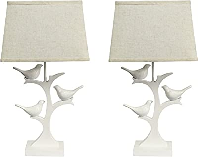 Sheffield Home 22.5 inch Gloss White Bird Table Lamp Light - Perfect Living Room Decor, Bedside Lamps for Bedroom, Set of 2