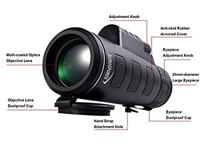 Aurosports Compact Size 35x50 High-powered Wide-angle Glimmer Night Vision Monoculars with Hand Strap