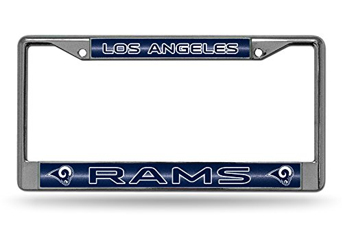 Rico Industries NFL Los Angeles Rams Bling Chrome License Plate Frame with Glitter Accent