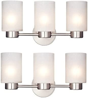 2 Pack Sylvestre Three-Light Interior Wall Fixture Brushed Nickel Finish with Frosted Seeded Glass BN
