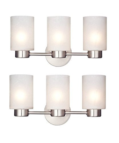 Westinghouse 6227900 Sylvestre Three-Light Interior Wall Fixture, Brushed Nickel Finish with Frosted Seeded Glass (2, Three-Light)