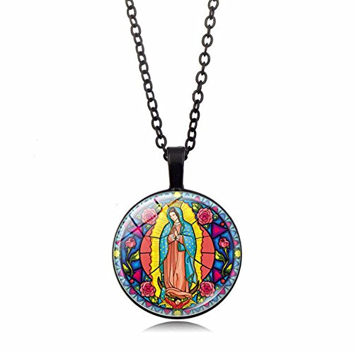(MFMAGWFF Sterling Silver Virgin Mary of Guadalupe Pressed Flower Pendant Necklace, 18