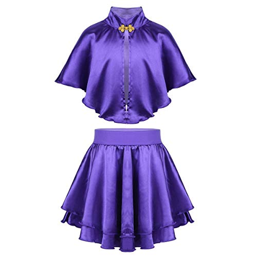 Agoky Kids Girls Greatest Showman Anne Wheeler Costume Role Play Halloween Cosplay Party Cape Top with Skirt Wristband Purple 2-4 -