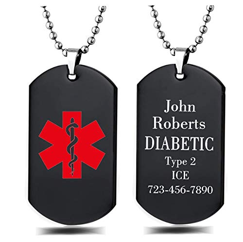 Interway Trading Unisex Stainless Steel Medical Alert ID Dog tag Pendant Men and Women, Free Engraving (Black)