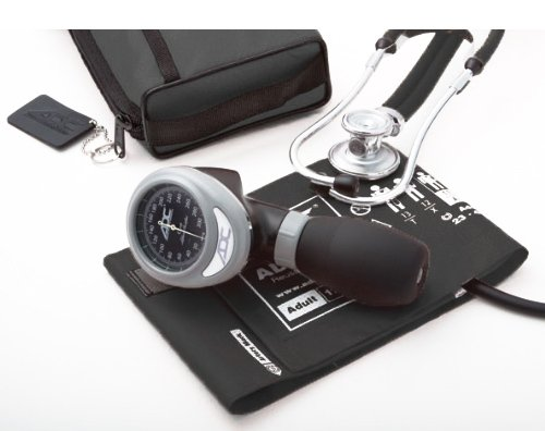 Palm Aneroid (ADC Pro's Combo I Adult Palm Aneroid/Scope Kit with Prosphyg 788 Blood Pressure Sphygmomanometer and Adscope 641 Sprague Stethoscope, Black)
