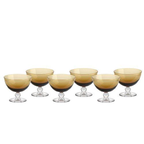 CRISTALICA Set of 6, Ice Cream Sundae Dishes, Ice Cream Sundae Glasses, Sundae Dishes, Ice Cream Bowls, Ice Cream Cup ~PICCOLO~ Amber, 10 cm, Glass (GELATO VERO powered by