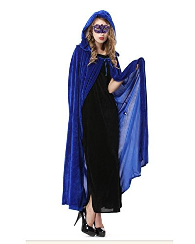 Masquerade Halloween Costumes Ideas (Dolores Halloween Velvet Cloak Full Length Hooded Cape Cosplay Costume Masquerade Ball Fancy Dress,Blue)