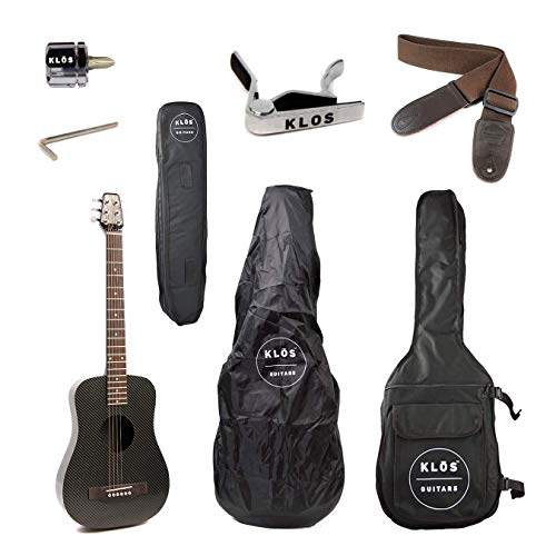 KLOS Black Carbon Fiber Travel Acoustic Guitar Package (Guitar, Gig Bag, Strap, Capo, and more)