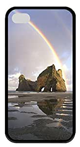 iPhone 4 4s Case, iPhone 4 4s Cases - Landscapes rainbow TPU Polycarbonate Hard Case Back Cover for iPhone 4 4s¨CBlack