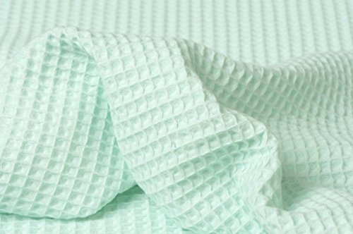 HomeBuy Cotton Waffle Pique Honeycombe Fabric Material - 150Cm Wide Mint - Pique Robe Waffle